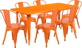 31.5'' x 63'' Rectangular Orange Metal Indoor-Outdoor Table Set with 6 Stack Chairs [ET-CT005-6-30-OR-GG]