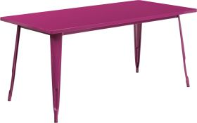 31.5'' x 63'' Rectangular Purple Metal Indoor-Outdoor Table [ET-CT005-PUR-GG]
