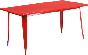 31.5'' x 63'' Rectangular Red Metal Indoor-Outdoor Table [ET-CT005-RED-GG]