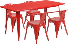31.5'' x 63'' Rectangular Red Metal Indoor-Outdoor Table Set with 4 Arm Chairs [ET-CT005-4-70-RED-GG]