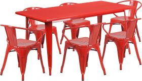 31.5'' x 63'' Rectangular Red Metal Indoor-Outdoor Table Set with 6 Arm Chairs [ET-CT005-6-70-RED-GG]