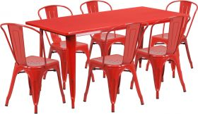 31.5'' x 63'' Rectangular Red Metal Indoor-Outdoor Table Set with 6 Stack Chairs [ET-CT005-6-30-RED-GG]