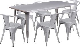 31.5'' x 63'' Rectangular Silver Metal Indoor-Outdoor Table Set with 6 Arm Chairs [ET-CT005-6-70-SIL-GG]