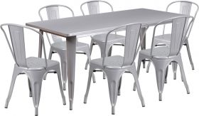 31.5'' x 63'' Rectangular Silver Metal Indoor-Outdoor Table Set with 6 Stack Chairs [ET-CT005-6-30-SIL-GG]
