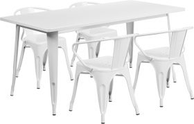 31.5'' x 63'' Rectangular White Metal Indoor-Outdoor Table Set with 4 Arm Chairs [ET-CT005-4-70-WH-GG]