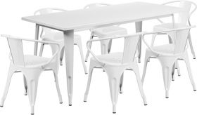 31.5'' x 63'' Rectangular White Metal Indoor-Outdoor Table Set with 6 Arm Chairs [ET-CT005-6-70-WH-GG]