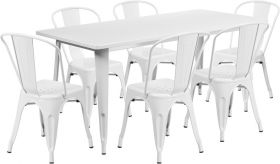 31.5'' x 63'' Rectangular White Metal Indoor-Outdoor Table Set with 6 Stack Chairs [ET-CT005-6-30-WH-GG]