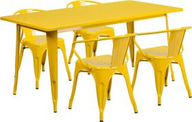 31.5'' x 63'' Rectangular Yellow Metal Indoor-Outdoor Table Set with 4 Arm Chairs [ET-CT005-4-70-YL-GG]