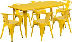 31.5'' x 63'' Rectangular Yellow Metal Indoor-Outdoor Table Set with 6 Arm Chairs [ET-CT005-6-70-YL-GG]