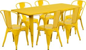 31.5'' x 63'' Rectangular Yellow Metal Indoor-Outdoor Table Set with 6 Stack Chairs [ET-CT005-6-30-YL-GG]