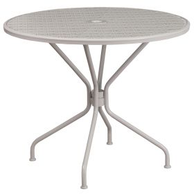 35.25'' Round Light Gray Indoor-Outdoor Steel Patio Table [CO-7-SIL-GG]