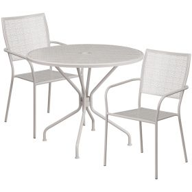 35.25'' Round Light Gray Indoor-Outdoor Steel Patio Table Set with 2 Square Back Chairs [CO-35RD-02CHR2-SIL-GG]