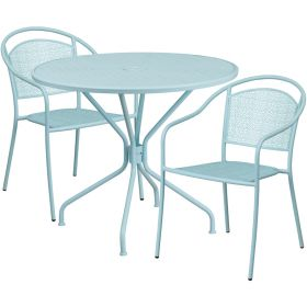 35.25'' Round Sky Blue Indoor-Outdoor Steel Patio Table Set with 2 Round Back Chairs [CO-35RD-03CHR2-SKY-GG]
