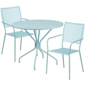35.25'' Round Sky Blue Indoor-Outdoor Steel Patio Table Set with 2 Square Back Chairs [CO-35RD-02CHR2-SKY-GG]