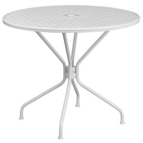 35.25'' Round White Indoor-Outdoor Steel Patio Table [CO-7-WH-GG]