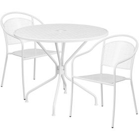 35.25'' Round White Indoor-Outdoor Steel Patio Table Set with 2 Round Back Chairs [CO-35RD-03CHR2-WH-GG]