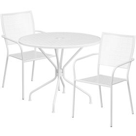 35.25'' Round White Indoor-Outdoor Steel Patio Table Set with 2 Square Back Chairs [CO-35RD-02CHR2-WH-GG]