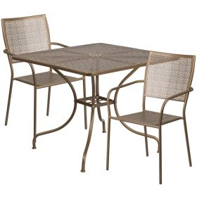 35.5'' Square Gold Indoor-Outdoor Steel Patio Table Set with 2 Square Back Chairs [CO-35SQ-02CHR2-GD-GG]