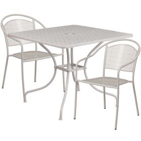 35.5'' Square Light Gray Indoor-Outdoor Steel Patio Table Set with 2 Round Back Chairs [CO-35SQ-03CHR2-SIL-GG]