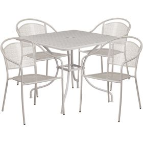35.5'' Square Light Gray Indoor-Outdoor Steel Patio Table Set with 4 Round Back Chairs [CO-35SQ-03CHR4-SIL-GG]