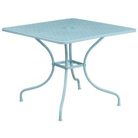 35.5'' Square Sky Blue Indoor-Outdoor Steel Patio Table [CO-6-SKY-GG]