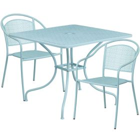 35.5'' Square Sky Blue Indoor-Outdoor Steel Patio Table Set with 2 Round Back Chairs [CO-35SQ-03CHR2-SKY-GG]