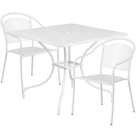 35.5'' Square White Indoor-Outdoor Steel Patio Table Set with 2 Round Back Chairs [CO-35SQ-03CHR2-WH-GG]