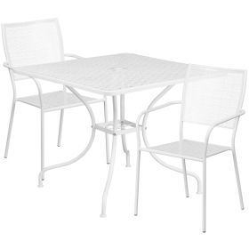 35.5'' Square White Indoor-Outdoor Steel Patio Table Set with 2 Square Back Chairs [CO-35SQ-02CHR2-WH-GG]