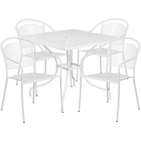 35.5'' Square White Indoor-Outdoor Steel Patio Table Set with 4 Round Back Chairs [CO-35SQ-03CHR4-WH-GG]