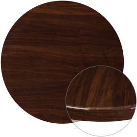 36'' Round High-Gloss Walnut Resin Table Top with 2'' Thick Drop-Lip [TP-WAL-36RD-GG]