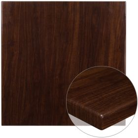 36'' Square High-Gloss Walnut Resin Table Top with 2'' Thick Drop-Lip [TP-WAL-3636-GG]