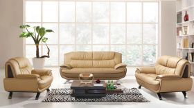 ESF 405 Leather Living Room Set in Almond