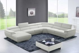 Queens Modern Leather Sectional Sofa in Off White