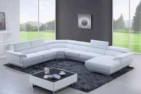 Queens Modern Leather Sectional Sofa in Pure White