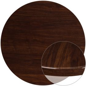 48'' Round High-Gloss Walnut Resin Table Top with 2'' Thick Drop-Lip [TP-WAL-48RD-GG]