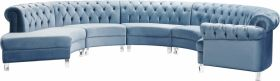 Rome Contemporary 5 Piece Modular Velvet Sectional Sofa in Sky Blue