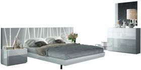 ESF Ronda Modern Bedroom Set with Salvador Bed in White & Light Gray
