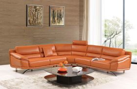 ESF 533 Leather Sectional Sofa in Orange