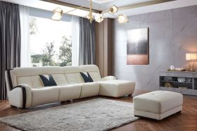 Paris Leather Modern Sectional Sofa in White