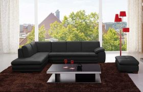 Angelo Italian Leather Sectional Sofa in Black with Left Facing Chaise - Lifestyle