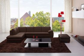 Angelo Italian Leather Sectional Sofa in Brown with Right Facing Chaise