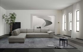 Angelo Italian Leather Sectional Sofa in Grey with Left Facing Chaise
