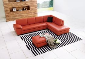 Angelo Italian Leather Sectional Sofa in Pumpkin with Left Facing Chaise - Lifestyle