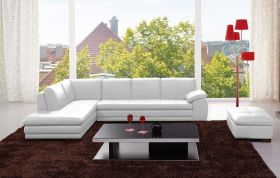 Angelo Italian Leather Sectional Sofa in White with Left Facing Chaise - Lifestyle