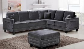 Meridian 655 Ferrara Sectional Sofa in Grey Velvet