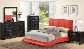 8272/Linda Bedroom Set in Red & Black