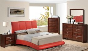 8272/Linda Bedroom Set in Red & Merlot
