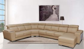 ESF 8312 Leather Sectional Sofa w/Sliding Seats in Beige with Left Facing Chaise
