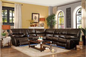 Ottawa Leather Reclining Sectional Sofa in Dark Brown