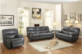 Ottawa Leather Reclining Living Room Set in Gray